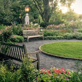 beautiful landscape in the backyard of an oshawa home showcasing rustic benches, manicured lawn, and beautiful garden
