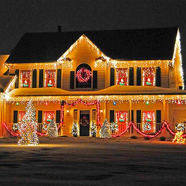 Holiday lights visible on the exterior front of a Brooklin, ON home