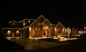 christmas lights visible on an ajax home after installation services
