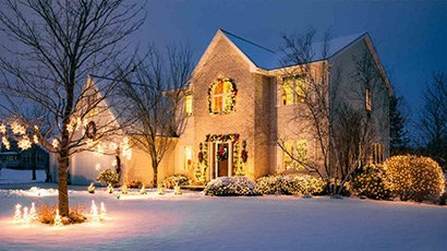 classy contemporary home with modern, minimal christmas lights