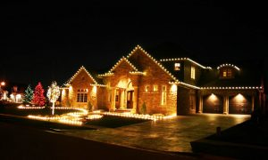 holiday lighting visible on the exterior of a brooklin home
