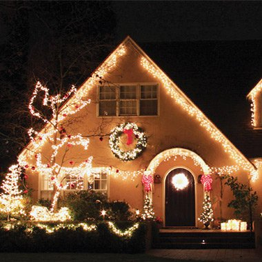 home with beautiful christmas lights