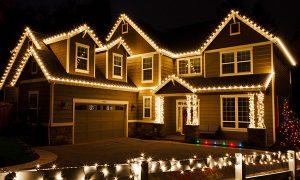 christmas lights on a large home