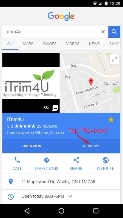 how to leave a review for itrim4u on mobile