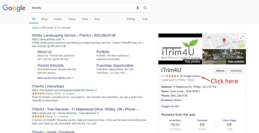 how to leave a review for itrim4u using google search